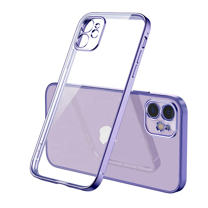 Wholesale fashion transparent electroplating soft TPU phone case for iPhone 12 Pro 12 Max 11 Pro Max 11 Pro 11 XR XS Max X 8 7 <strong>P</strong>