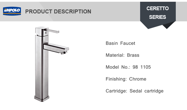 Family Stainless Steel Hot And Cold Faucet Silver Square High Basin Mixer Water Tap