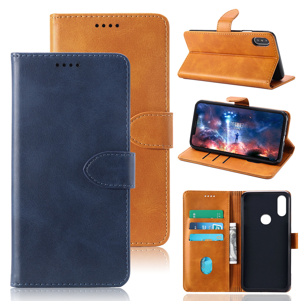 Phone Case For Huawei <strong>P</strong> smart Z Cover Case Plain Leather Wallets Phone Bags Coque For <strong>P</strong> smart Z Flip Magnetic Book Case