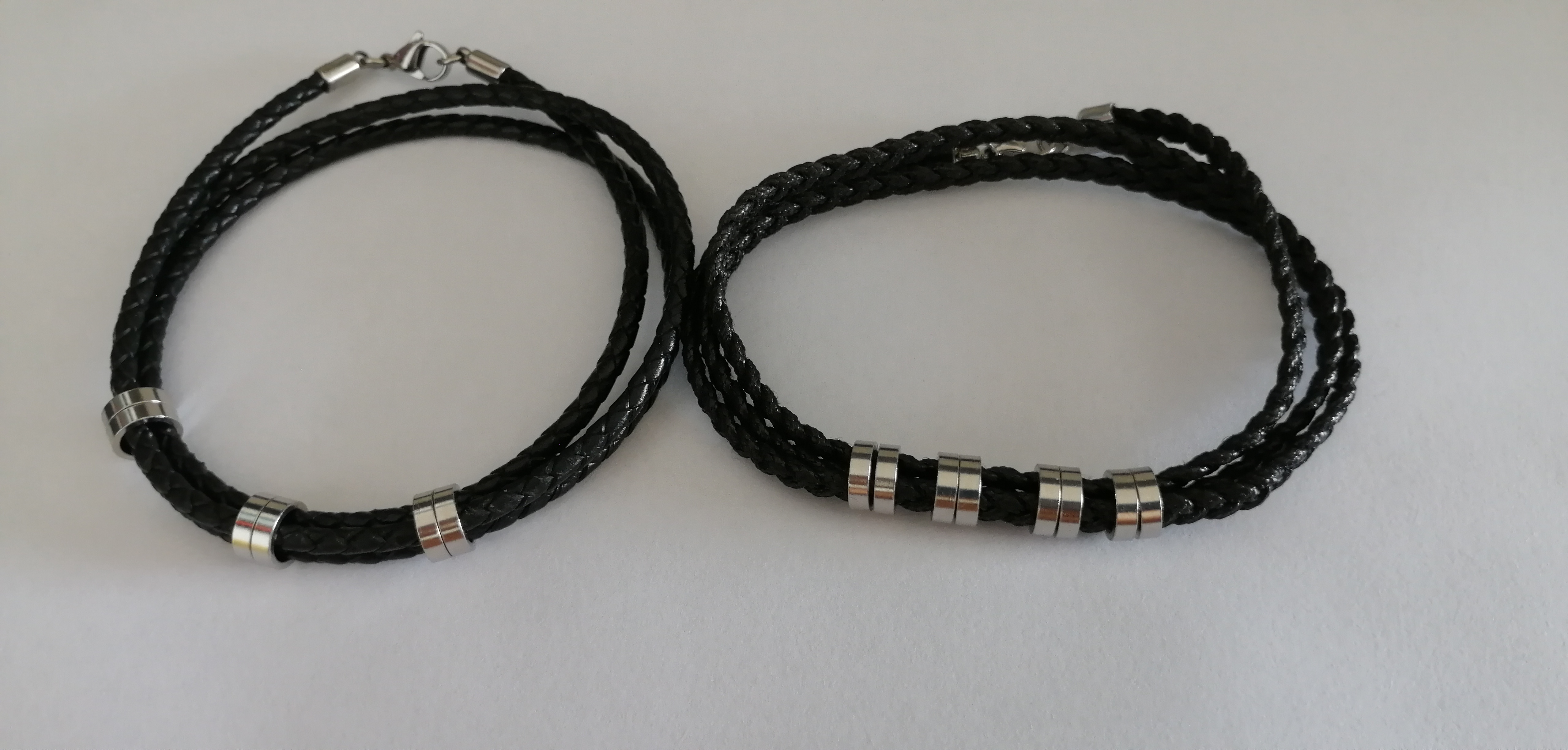 Factory Customize Stylish Knitting Genuine Black Braided Leather Cord Wax Rope With Small Stainless Steel Beads Bangle Bracelet