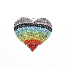 Fashion Free Shipping Zinc Alloy Heart Shape Rhinestone Rainbow Pendant <strong>Charms</strong> For Jewelry Making
