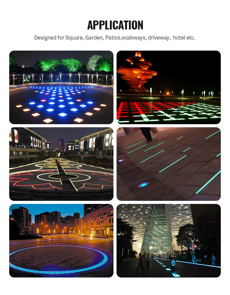 Outdoor IP67 100x100mm rgb led tiles for garden road