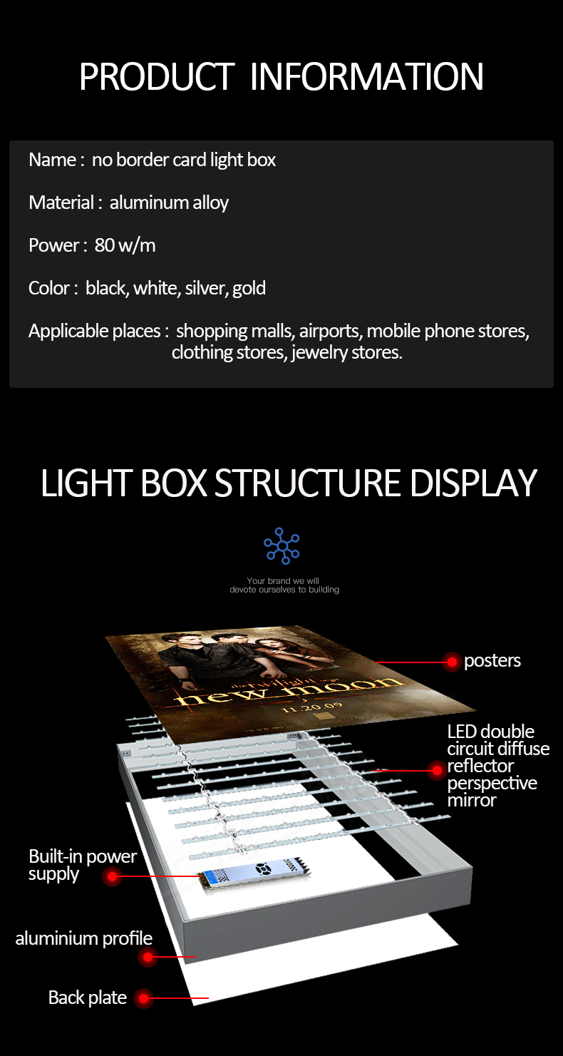 A0 A1 A2 LED Light Box illumination Aluminum Profile Durable Outdoor Backlit Advertising Light Box