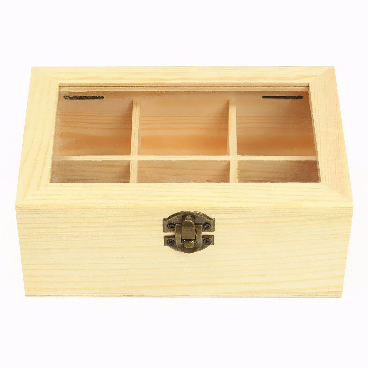 Bamboo Wood Tea Box with 8 Compartments