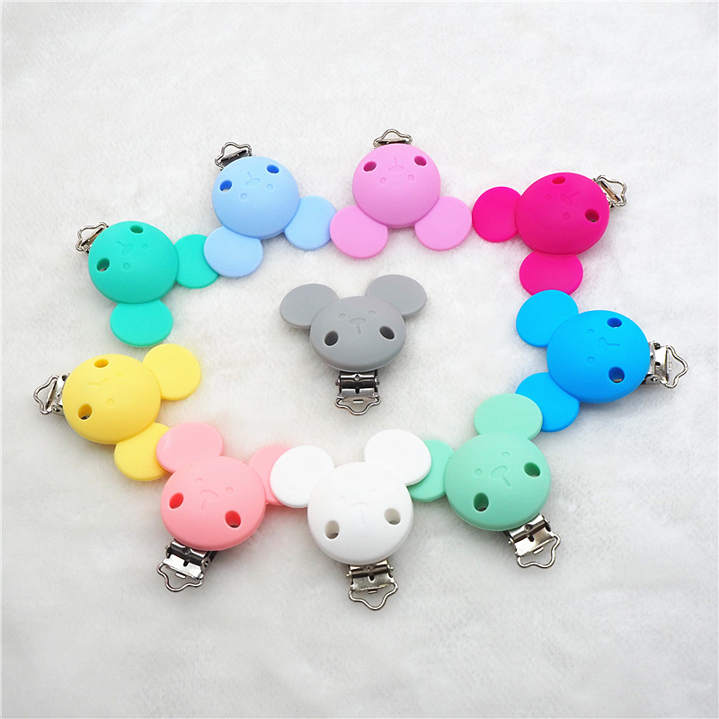 Teething Pacifier Teether Dummy for Baby Bead Silicon Holder New mickey Silicone clip