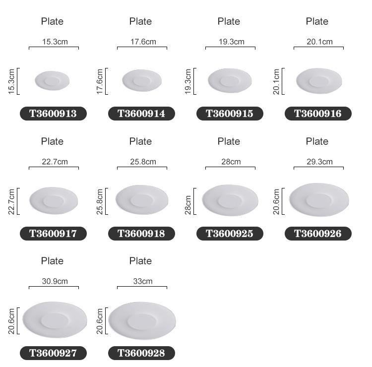 White Round Banquet  Restaurant Crockery Ceramic Dish Plates Hotel Bone China Dinner Plates