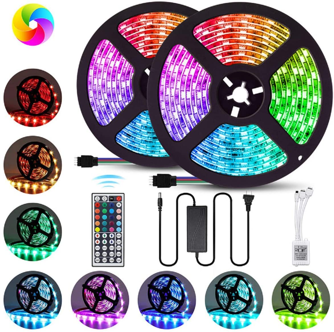 Waterproof 16.4ft Light Strip Color Changing RGB <strong>LED</strong> Strip Lights with 44 key Remote for Home Lighting Kitchen Bed