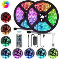 Waterproof 16.4ft Light Strip Color Changing RGB LED Strip Lights with 44 key Remote for Home Lighting Kitchen Bed