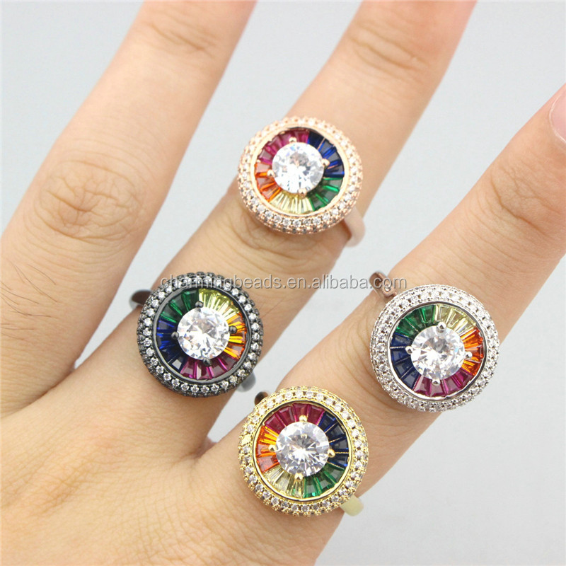 CH-CKR0026 cubic zirconia micro pave cz ring,adjustable cz plating ring,fashion cz jewelry wholesale