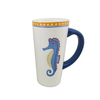 Seahorse Starfish Tall Latte Porcelain Mugs