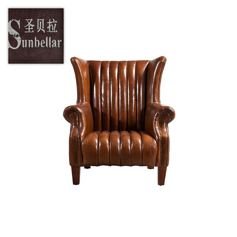 Hotel lounge armchair furniture new design leather sofa comfortable armed sitting chair