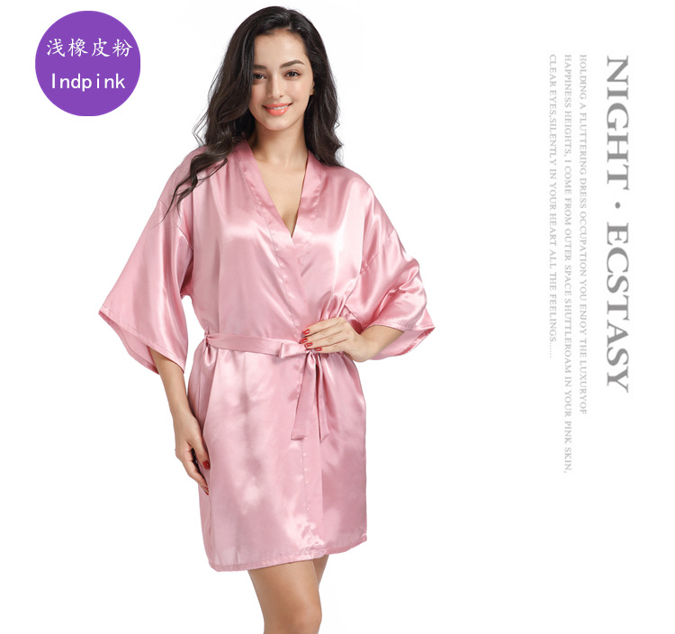 <strong>H001</strong> Women Solid Candy Color Summer Satin Sleepwear Night Gowns Kaftan Bath Gown Night Dress Clothing Plus Size
