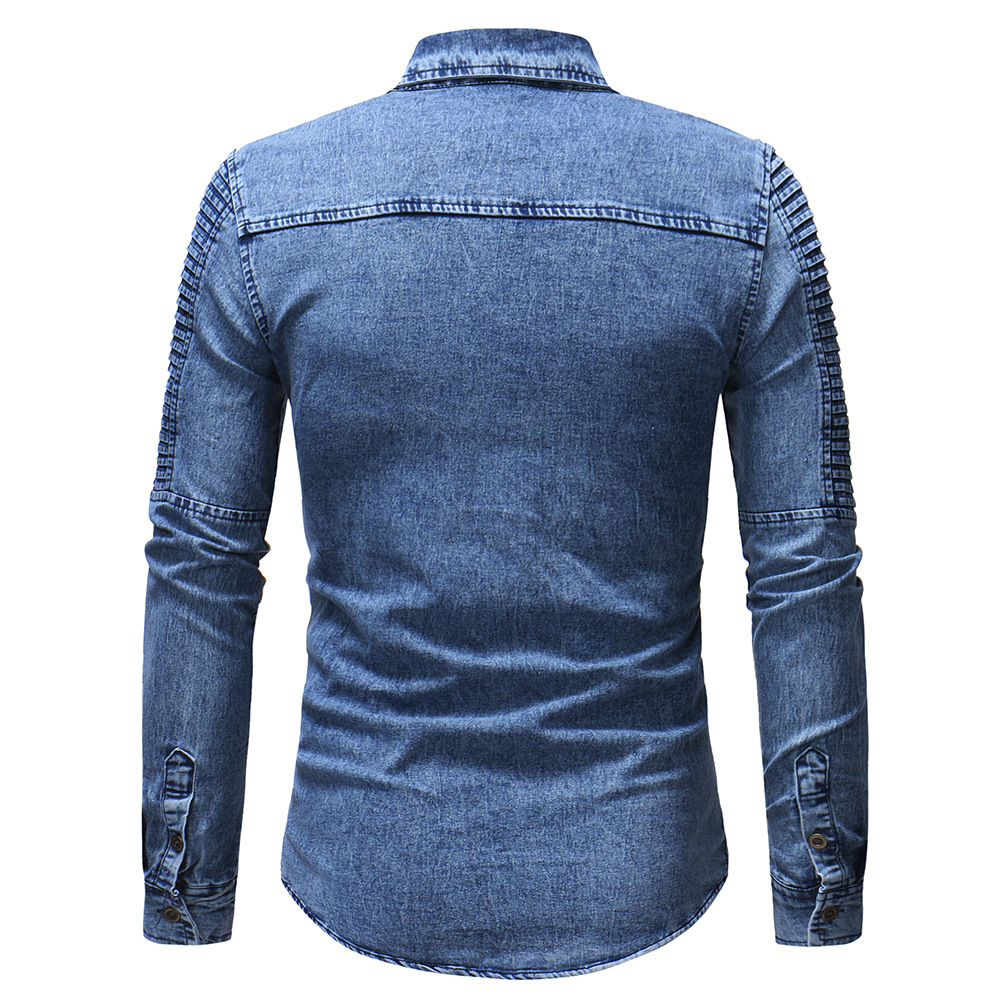 Men's solid color shoulder pocket European and American style  long sleeve  shirt