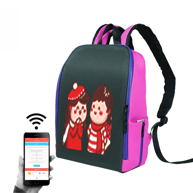 2019 Trend Newest Waterproof Phone WIFI Control Software Editing Smart LED Screen <strong>Backpack</strong> With Hidden LED Display