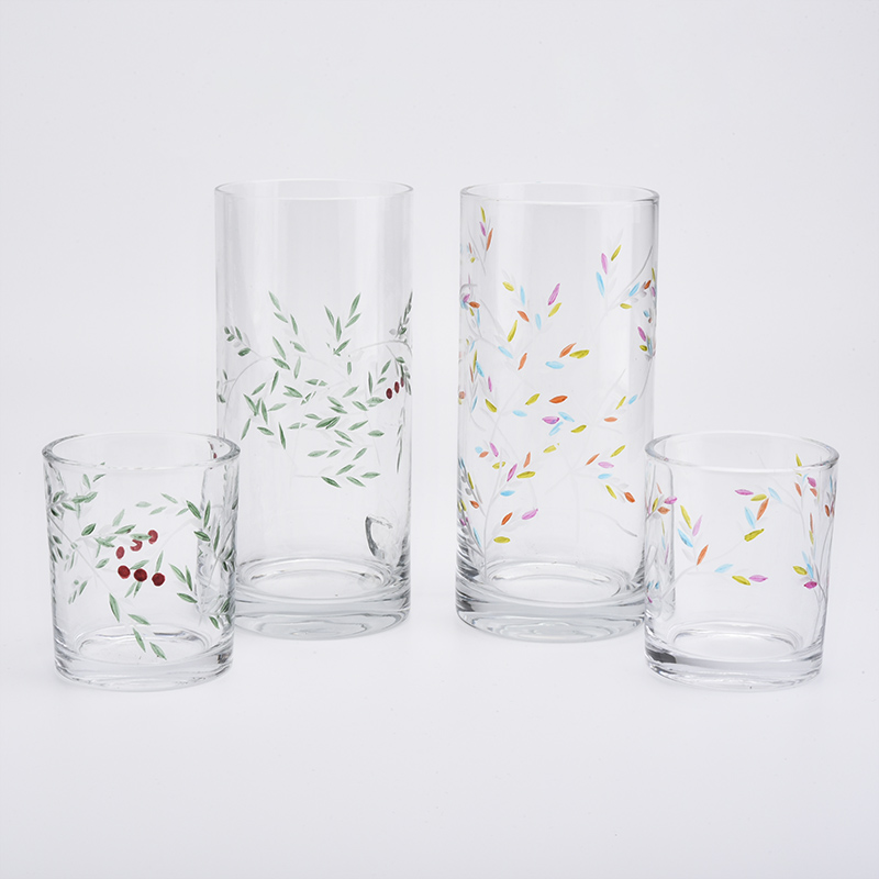 Engraved designs glass vessel for home decor