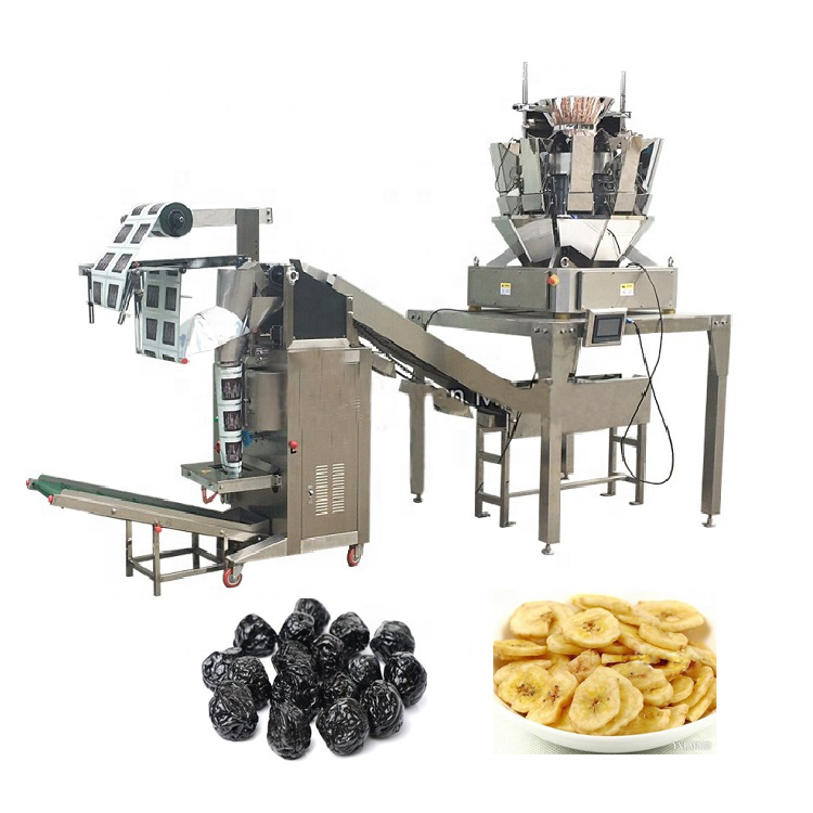 Vertical Snacks bag Packing machine YB-300LD 100g Banana Chips BEANS Packing with Multihead Weigher