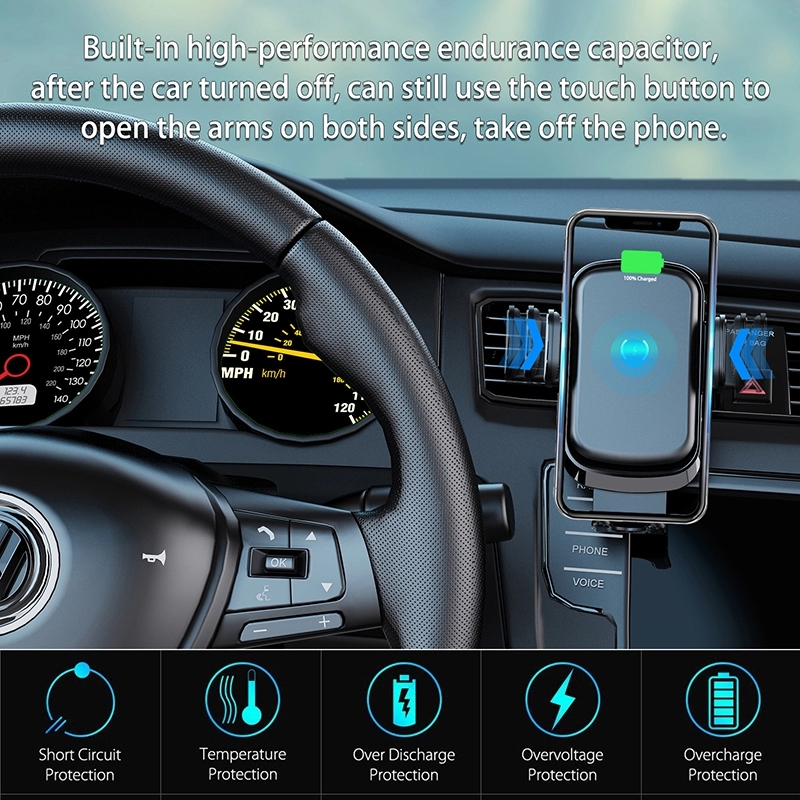 Smart Sensor Car Wireless Charger Infrared Auto-sens Air Vent Mount Smart Automatic Clamping Wireless Car Charger