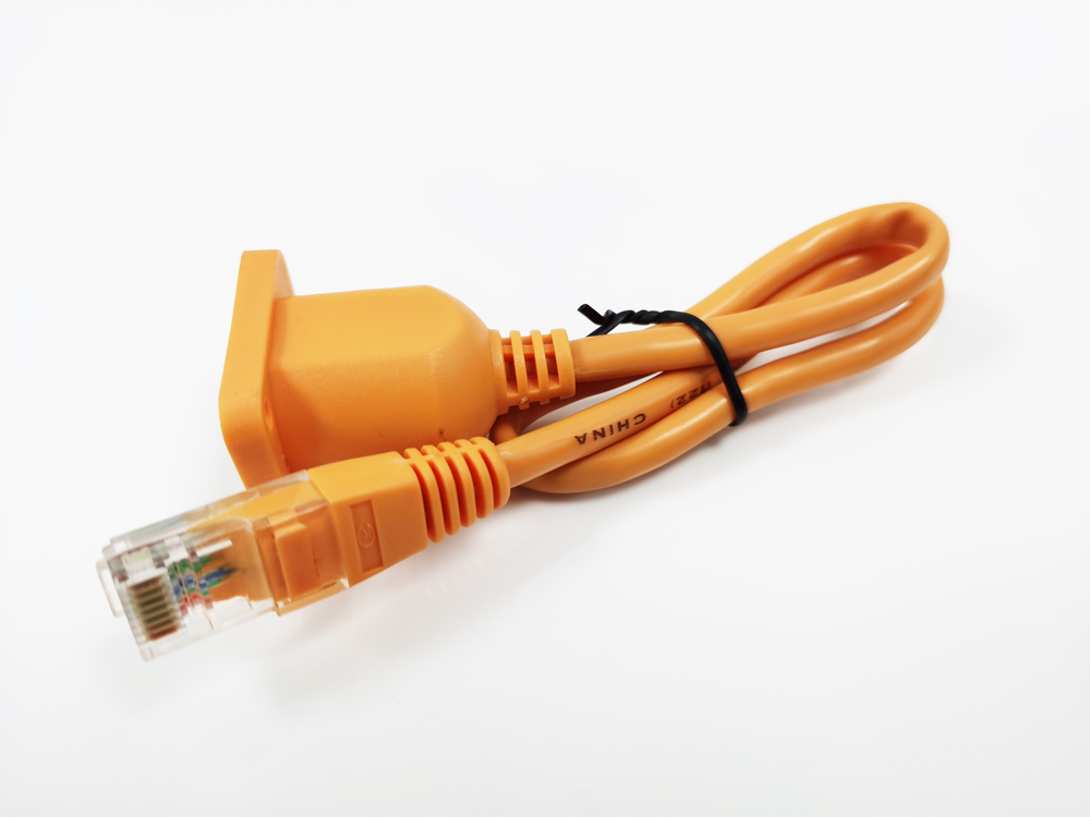 Orange Shielded RJ45 Male to Female Extension Interface Cable with LEDs