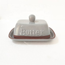 Factory Hot Selling Custom Logo Rectangle Ceramic Terracotta Butter Dish With Lid