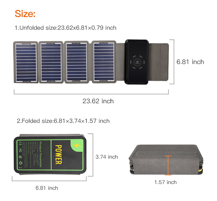 Wireless Waterproof Mobile Solar Charger Power Banks 10000Mah Foldable Solar Power Bank With LED Light