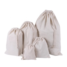 Promotional cotton canvas draw string natural bag with <strong>logo</strong>