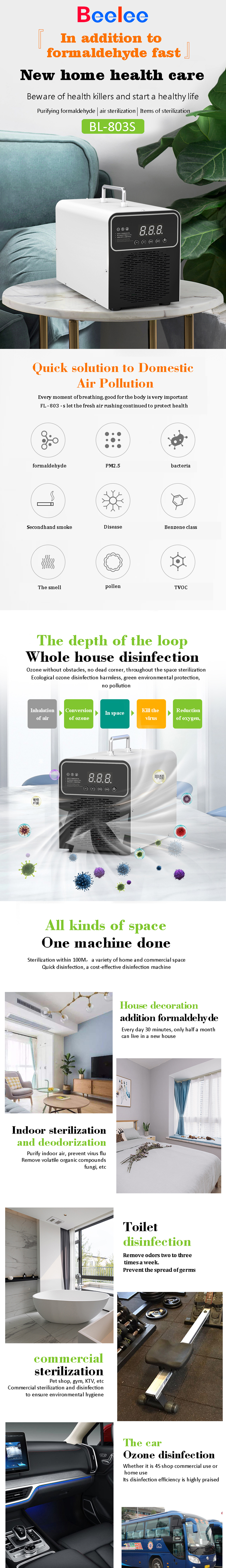 803S 3g/H Portable Ozone disinfection Ozone disinfection and ozone sanitization