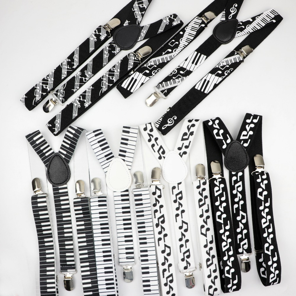 Music Man <strong>Belt</strong> Men Woman Men's Suspenders Bright Clip-on <strong>Y</strong>-Back Braces Elastic Women Adjustable Piano Note