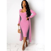Autumn Women Warm Velvet 2 Two Piece Set Sexy Spaghetti Straps Bodycon Dress And Long Sleeve Cardigan Coat Women's Suit
