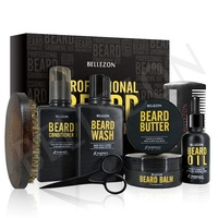 OEM Logo Wholesale Men Beard Grooming Kit with Beard Oil Balm Butter Conditioner Comb Brush