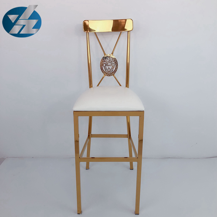 Modern stylish stainless steel gold bar chair party chairs bar stool with pu cushion