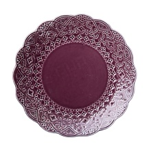 European style eco friendly wholesale purple 8 inch glazed round ceramic porcelain dinner <strong>flat</strong> plate