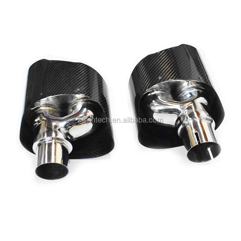 2 PCS Akrapovic Glossy Carbon Exhaust Tip For Audi A3 A4 A5 A6 Exhaust Tips Car Styling upgrade RS body RS6