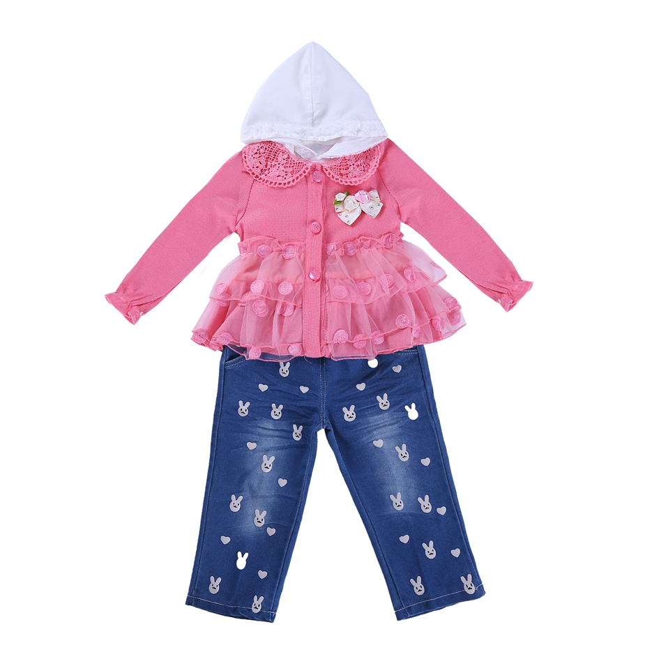 New Design Kids Girls Clothes Outfits with <strong>Jeans</strong> Pink Wholesale Clothing Pretty Mesh Toddler Girl Clothes with Hat