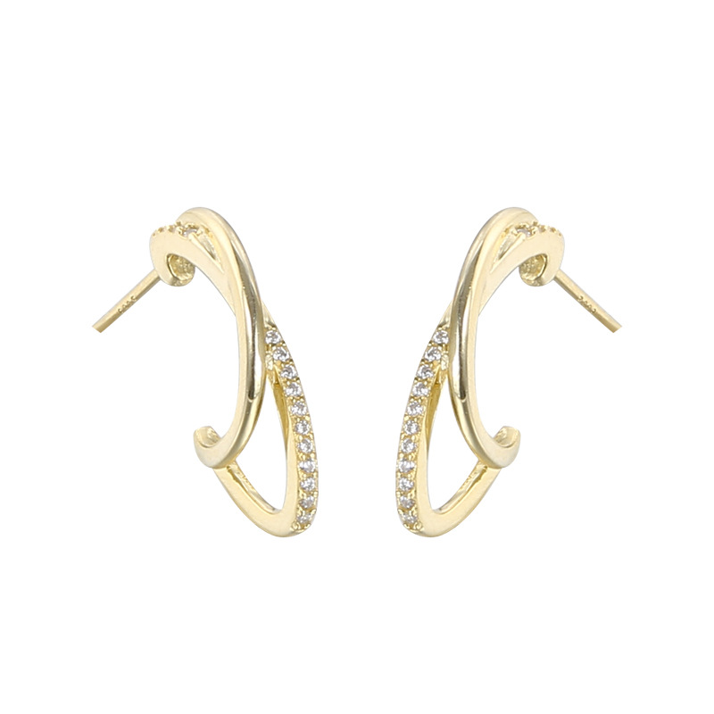 Vianrla 925 sterling silver gold plated <strong>c</strong> shape pave cz stud earrings for women