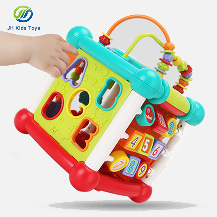 children center game block shape sorter learning cube educational baby activity <strong>toy</strong>