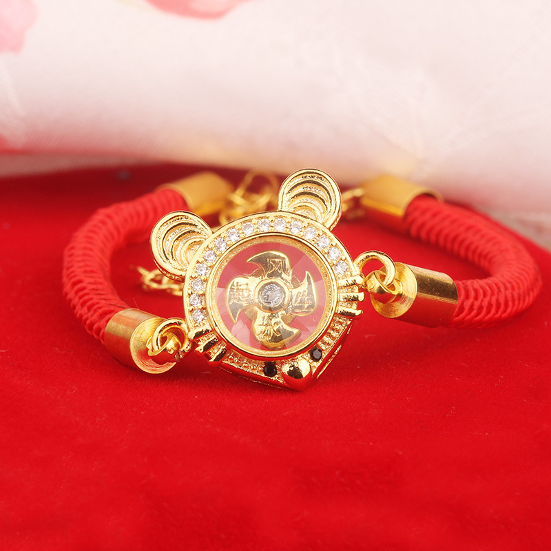 TLN002 Trade Assurance 2020 Fashion Crystal Mouse Rotation Windmill Bracelet Gold Plated Zodiac Animal Red Rope Lucky Bracelet