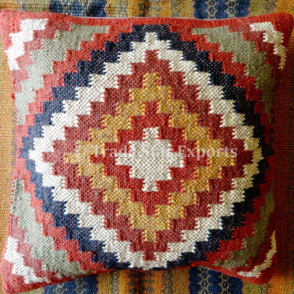 Beautiful Indian Wool Jute Kilim Cushion/'s Cover Handwoven Pillow/'s Decor Throw