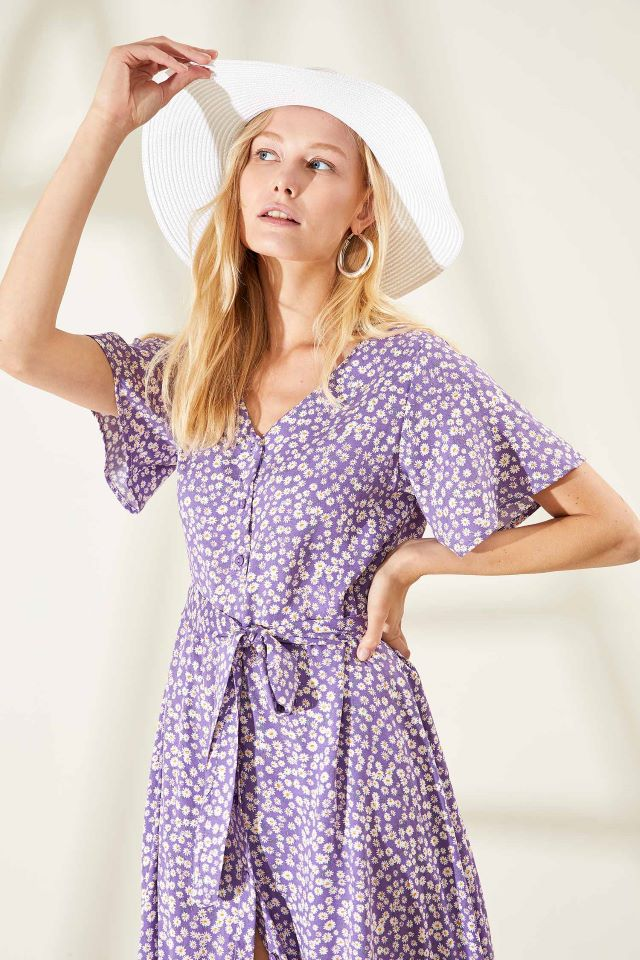 Apparel Women Casual Midi Dress Short Sleeve- Purple