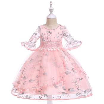 Cotton Frocks Desgin Lovely Baby Kid Half-Sleeve Leaves Floral Model Little Girl Party Evening Dress Clothing L5015XZ