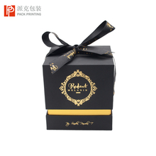 High end black paper tube matte gift boxes for candles custom scented candle in glass jar luxury with box