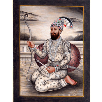 Handmade Sikh Art Painting Miniature Portrait Of Guru Gobind Singh Ji On Paper