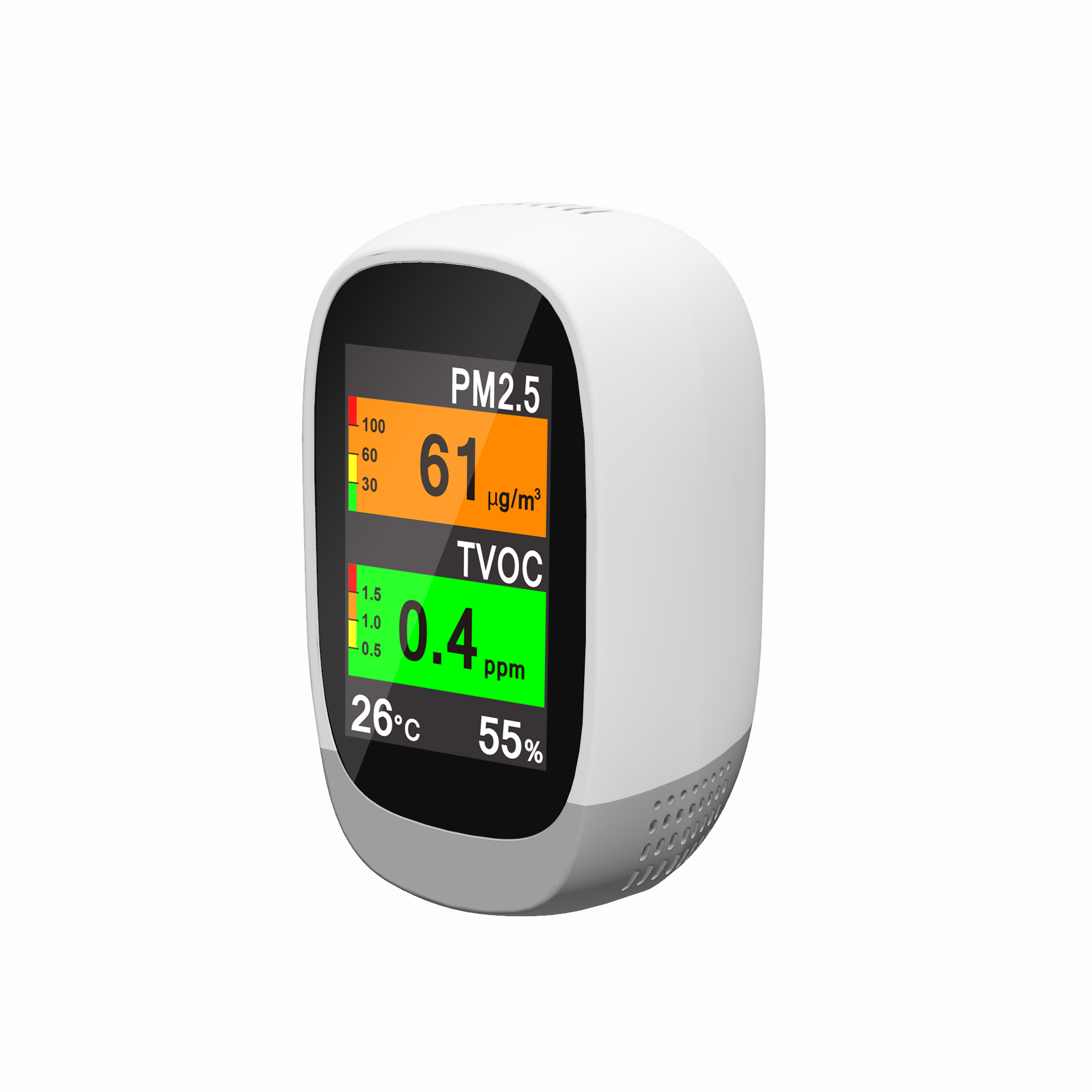 Home Desktop Temperature Monitor Device Measuring Air Pollution
