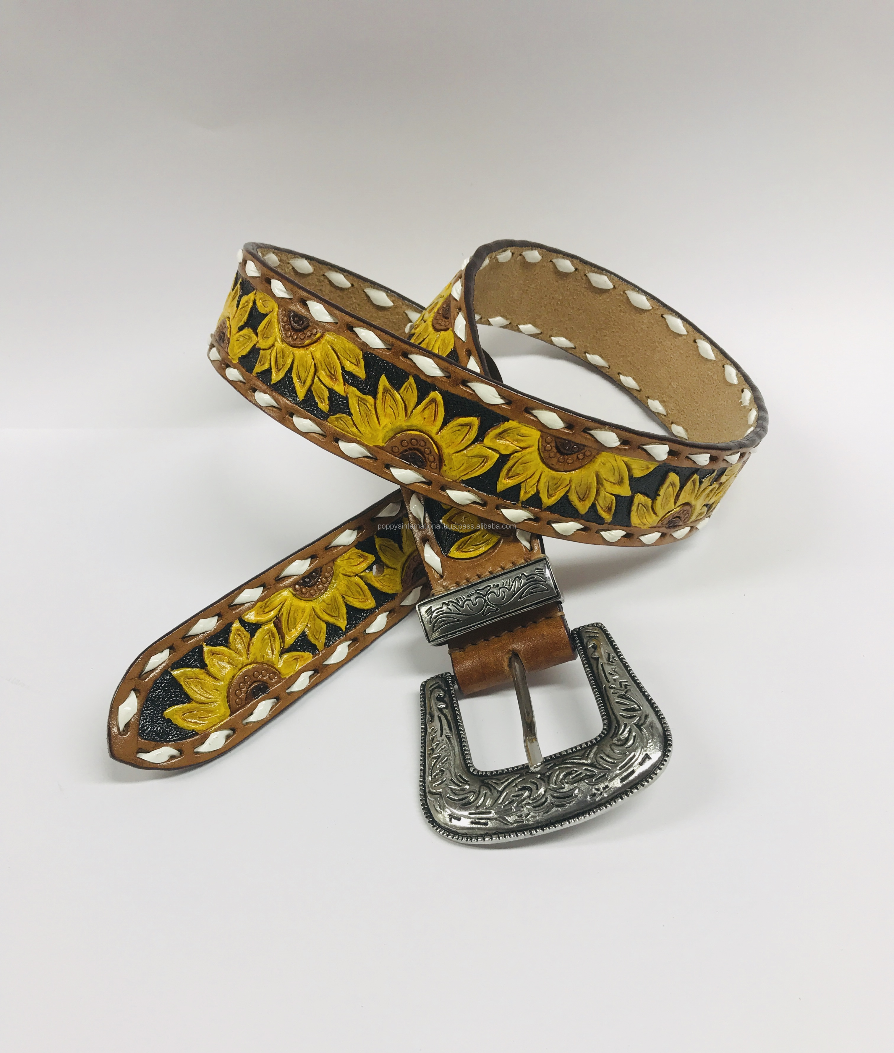 HAND CARVED WESTERN SUN FLOWER LEATHER BELT