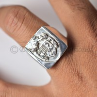 wholesale price family crest solid 925 silver personalized heavy mens ring gift for father anniversary ring