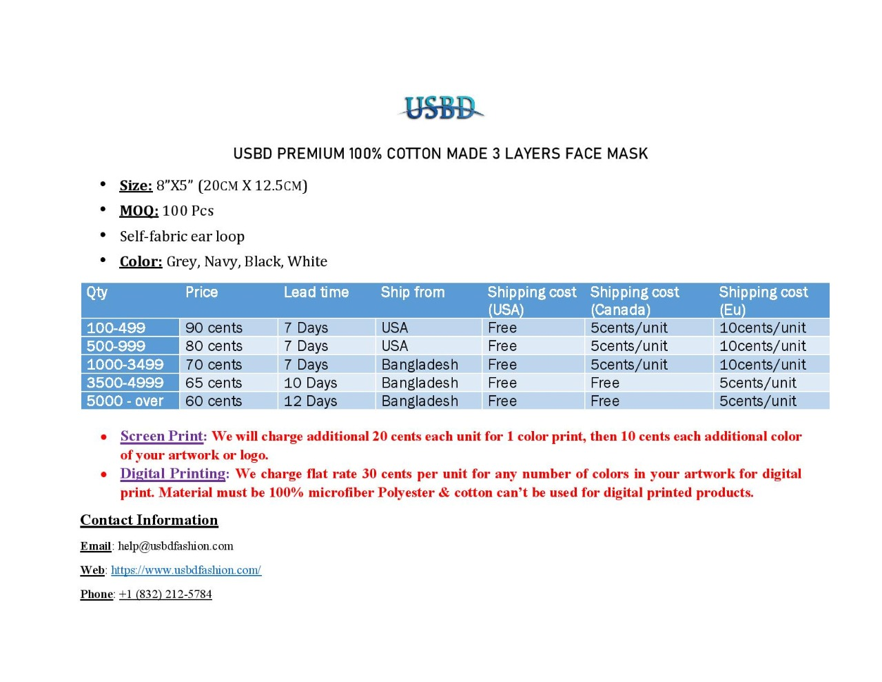 usbd pricing mask
