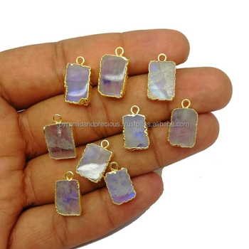 Rainbow Moonstone Slice Pendant - Tiny Size Gold Edged Gemstone Pendant For Necklace