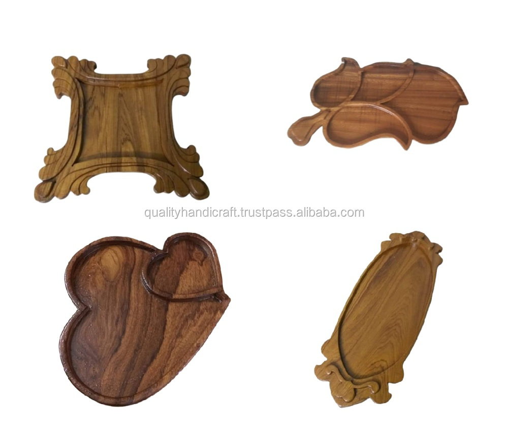 Wholesale  Mango Wood Serving Tray With Metal Handle Hotels & Restaurant Trays Kitchenware Coffee Table Tray