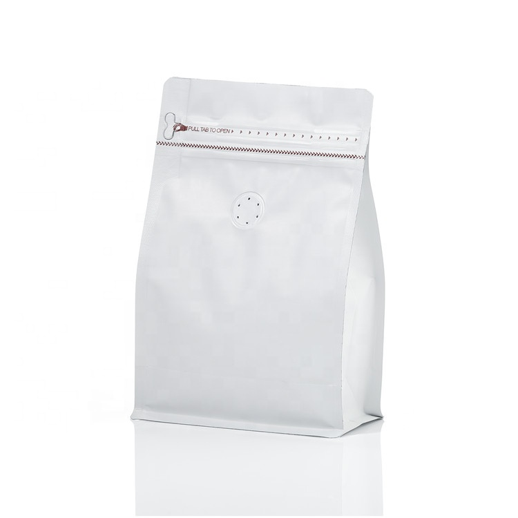 250g 8oz Matte white flat bottom coffee packaging pouch <strong>bag</strong> with ziplock valve