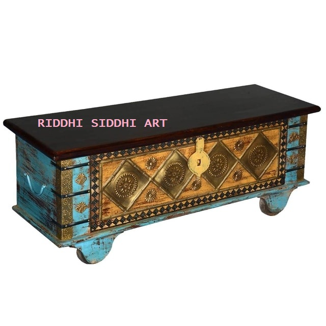 Antique Beautiful Golden Diamond Mango Wood Rolling Coffee Table Chest & Storage Living Room ,Hotels & Restaurant Antique Coffee