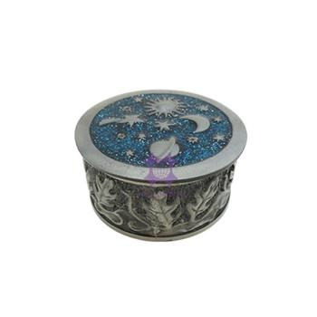 Glaring design new arrival azure blue metal round antique jewelry box